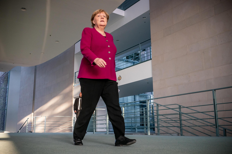 المستشارة الألمانية أنغيلا ميركل. 23 أبريل/نيسان 2020 في برلين.