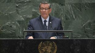 Fotografía cedida por la ONU donde aparece el canciller uruguayo, Rodolfo Nin Novoa, mientras habla ante la Asamblea General este 30 de septiembre, en la sede del organismo en Nueva York (EE.UU.).