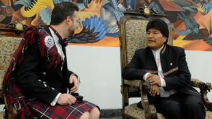 At the presidential palace, Evo Morales receives the credentials of the new British ambassador, on July 3, 2019 in La Paz.