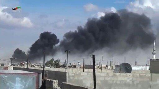 صورة مأخوذة من شريط فيديو للغارات الروسية على تلبيسة في محافظة حمص 30 سبتمبر 2015