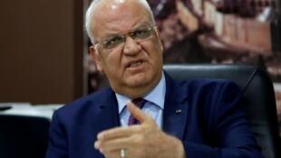 أمين سر اللجنة التنفيذية لمنظمة التحرير الفلسطينية صائب عريقات في رام الله في 01 إيلول/سبتمبر 2018