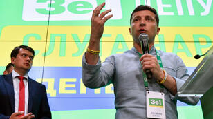 Le président ukrainien, Volodymyr Zelensky, s'adressant à ses partisans à Kiev, le 21juillet2019.