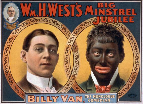 """Le """"blackface"""" était un divertissement pratiqué dans les """"minstrel shows"""", des spectacles burlesques nés au milieu du XIXe siècle."""