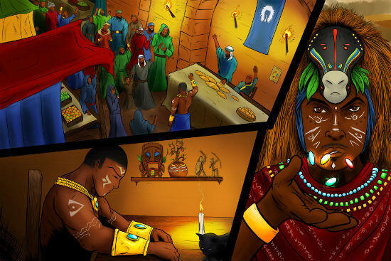 Le graphiste a su s'approprier les univers africains pour créer les visuels du jeu.