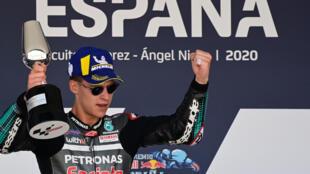 Le Français Fabio Quartararo (Yamaha SRT) vainqueur du GP d'Espagne MotoGP, le 19 juillet 2020 à Jerez de la Frontera