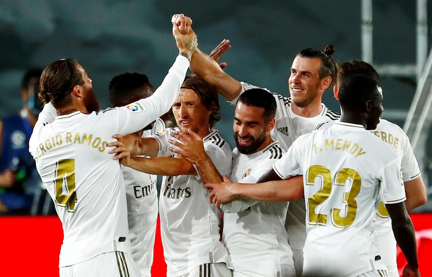 الدوري الإسباني: ريال مدريد أمام  ريال مايوركا ملعب ألفريدو دي ستيفانو، مدريد، إسبانيا  24 يونيو 2020.
