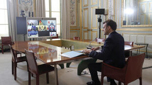 French President Emmanuel Macron attends an online G7 meeting on February 19, 2021 in Paris.
