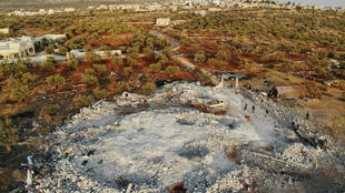 Aerial view taken Oct.  27, 2019 shows the site that was hit by helicopter gunfire near the northwestern Syrian village of Barisha in Syria's Idlib province.