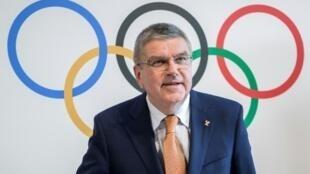 رئيس اللجنة الأولمبية الدولية، الألماني توماس باخ، في 9 حزيران/يونيو بلوزان.