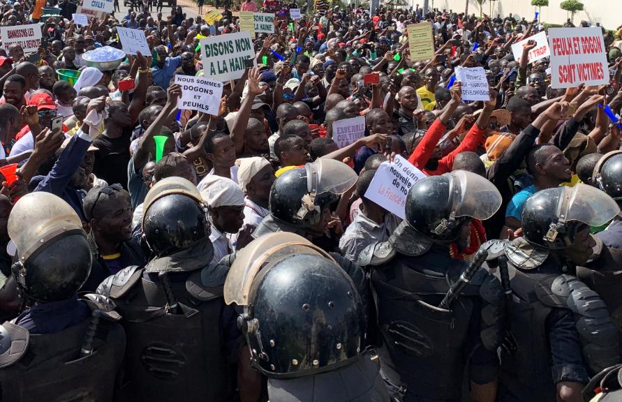 Manifestantes en Bamako, Mali.