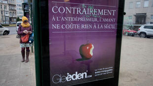 """An advertisement for Gleeden reads: """"Unlike an antidepressant, taking a lover won't cost the National Health Service a thing."""""""