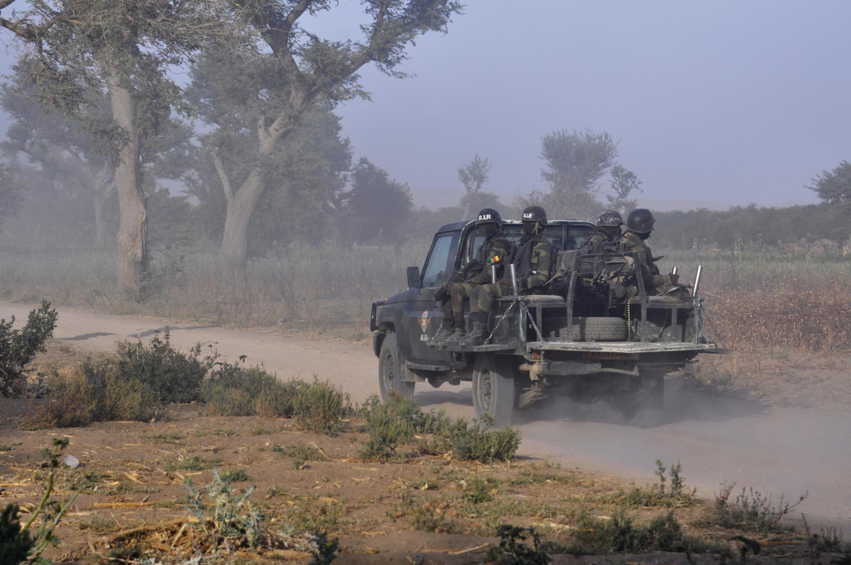Des membres de la Force d'intervention rapide du Cameroun patrouille, le 21 mars 2019, dans les environs de Mosogo, dans le nord du pays.