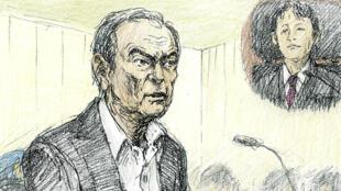 Dibujo realizado en la Corte de Distrito de Tokio en el que se muestra a Carlos Ghosn ofreciendo declaraciones al tribunal el 8 de enero de 2019.