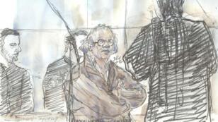 Dessin d'Abdelhakim Dekhar (centre), réalisé le 17 novembre 2017, lors de son procès.