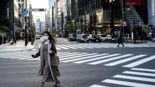 Une rue de Tokyo le 14 février 2021