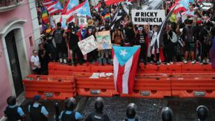 Manifestation dans les rues de San Juan à Porto-Rico lundi 22 juillet 2019.
