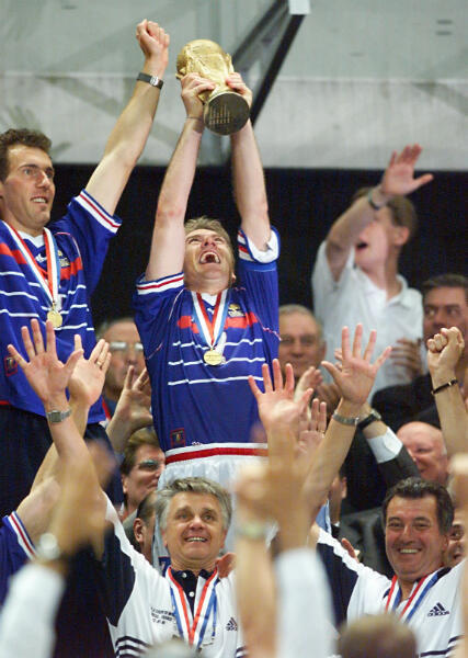 Didier Deschamps celebrates winning the World Cup in 1998.