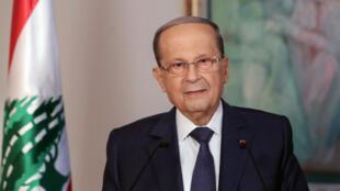 Le président libanais, Michel Aoun, s'exprimant depuis le palais présidentiel de Baabda, à Beyrouth, le 31octobre2019.
