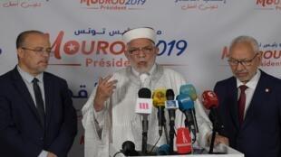مرشح حركة النهضة عبد الفتاح مورو وزعيم حزب النهضة رشيد الغنوشي يعقدان مؤتمرا صحفيا مشتركا في تونس العاصمة، في 17 سبتمبر/ أيلول 2019