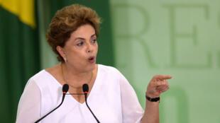 La présidente brésilienne Dilma Rousseff, vendredi 1er avril 2016, à Brasilia.