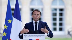 Emmanuel Macron s'adresse à la Convention citoyenne pour le climat, le 29 juin 2020