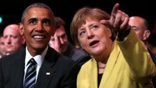 Barack Obama et Angela Merkel, dimanche 24 avril 2016, à Hanovre.