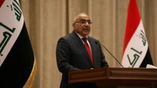 رئيس الوزراء العراقي عادل عبد المهدي في مداخلة له أمام البرلمان في 24 أكتوبر/تشرين الأول 2018.