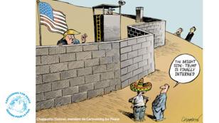 Le bras de fer entre Donald Trump et le Congrès sur la construction du mur avec le Mexique a inspiré le dessinateur suisse Chappatte.
