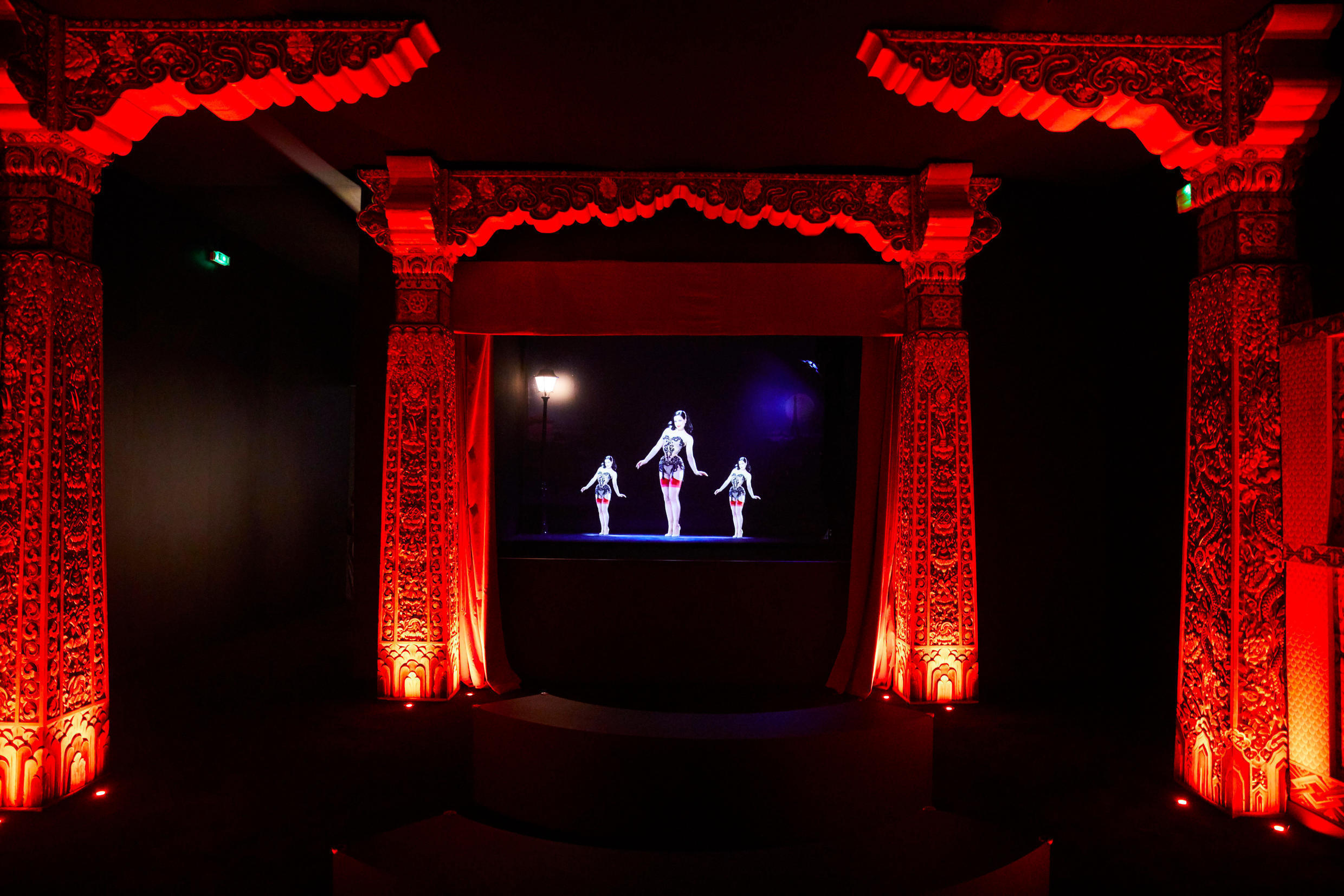 Burlesque dancer Dita von Teese features in a hologram performance in the Louboutin retrospective.