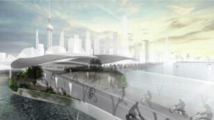 Une idée de ce à quoi pourra ressembler le projet E3 Way, un réseau aérien de pistes cyclables à Shangaï imaginé par BMW.