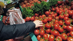A woman shops tomatoes in the vegetables produce section of a Carrefour supermarket on March 15, 2012 in the French northern city of Hazebrouck.