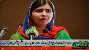 Malala Yousafzai s'exprime sur la télévision pakistanaise, le 29 mars 2018.