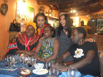 At the Gondwana restaurant: (Front row, left to right) Artist Fatou Kande, Olga Sanvee, marketing director of Azalai Hotels, and Mamane (Back row, left to right) FRANCE 24's Fatimata Wane and Leela Jacinto