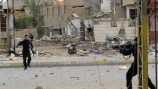 القوات الحكومية العراقية وجهاز مكافحة الإرهاب خلال معارك مع الجهاديين في الأنبار