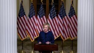 المرشحة الديمقراطية للرئاسة الأمريكية هيلاري كلينتون في نيويورك في 11 أيلول/سبتمبر 2016