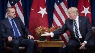 Les présidents turc et américain, Recep Tayyip Erdogan et Donald Trump, à New York, le 21 septembre 2017.