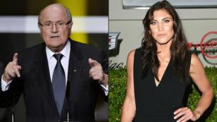 Joseph Blatter, expresidente de la FIFA y Hope Solo, exguardameta de la selección de Estados Unidos.