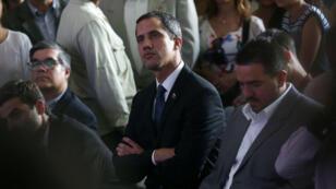"""El presidente de la Asamblea Nacional venezolana, Juan Guaidó, durante la presentación del """"Plan País"""" en Caracas, Venezuela, el 28 de marzo de 2019."""