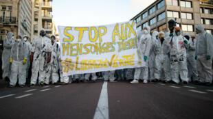 Manifestation dans le centre de Rouen, le 8octobre2019.
