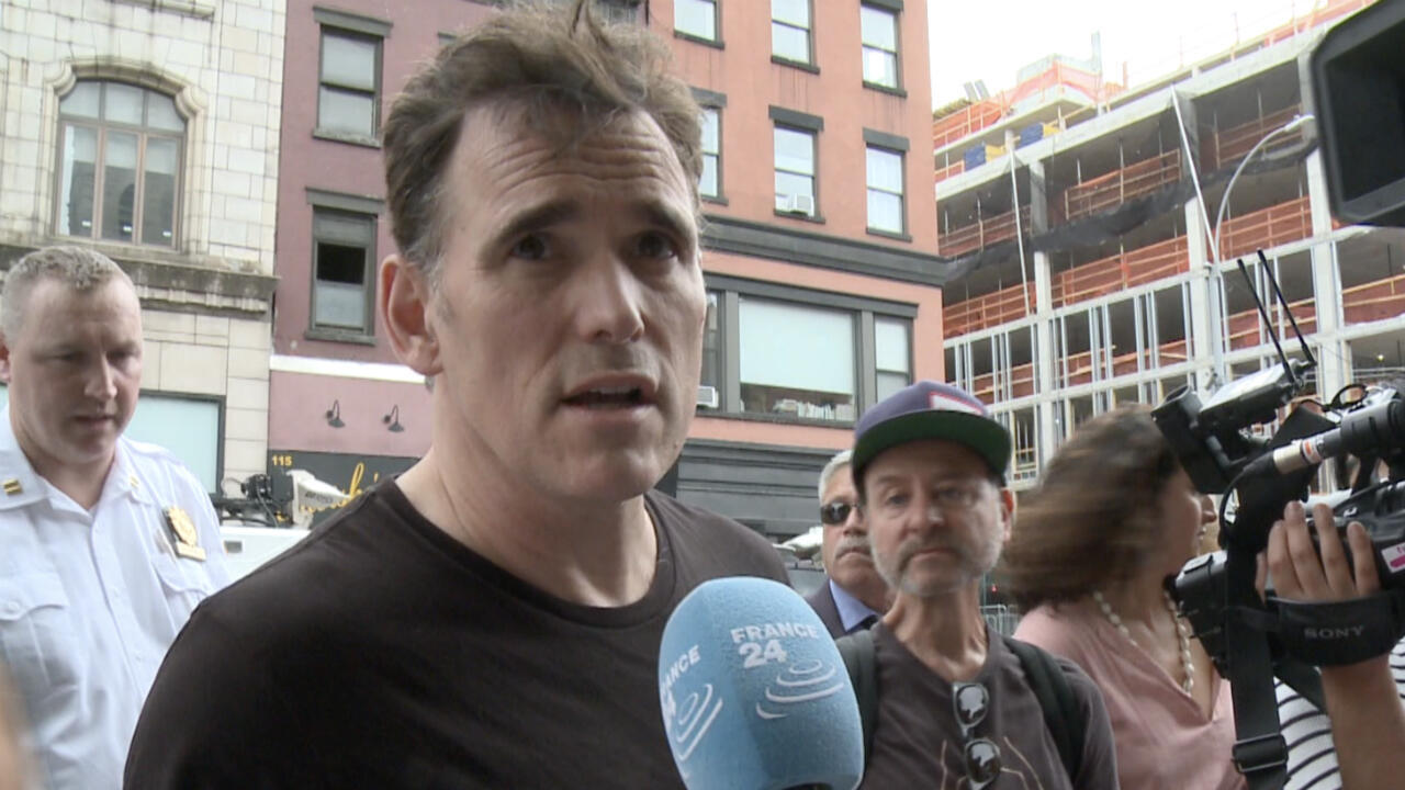 Actor Matt Dillon speaks to FRANCE 24 at #CloseTheCamps rally in East Village in NYC on July 2 2019.