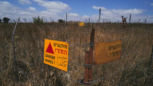 Champ de mines sur le plateau du Golan, en 1991.