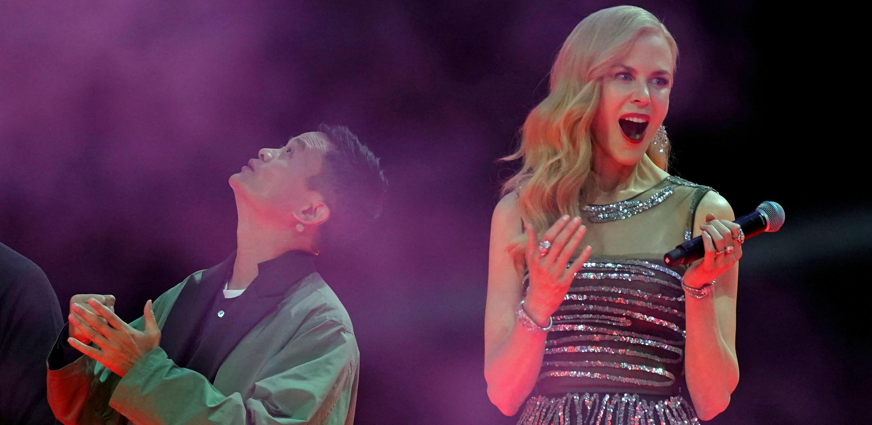 Jack Ma, director de la compañía Alibaba, y la actriz Nicole Kidman atienden al show de lanzamiento del Día de los Solteros. Noviembre 10, 2017