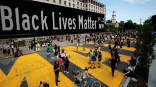 A street sign marking Black Lives Matter Plaza was erected in Washington, D.C., on June 5, 2020.
