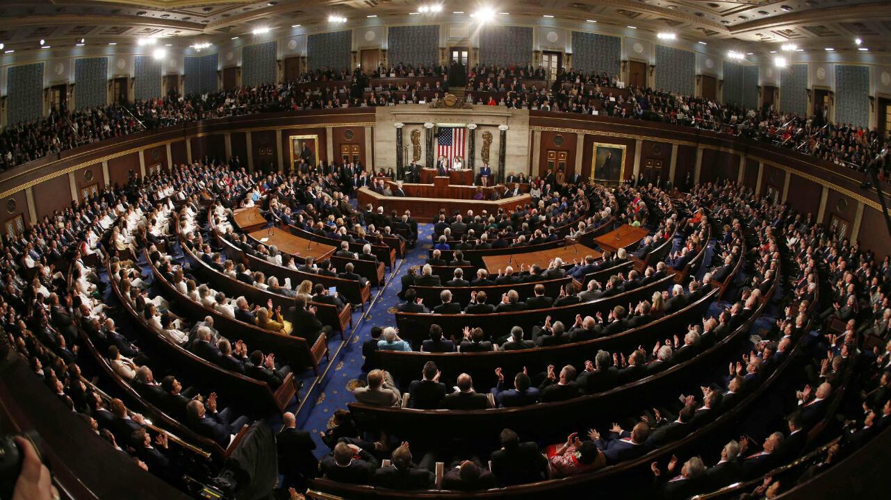 El presidente de Estados Unidos, Donald Trump, pronuncia su discurso sobre el estado de la Unión en una sesión conjunta del Congreso en el Capitolio en Washington D.C., EE. UU., el 5 de febrero de 2019.