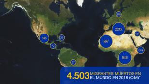 Mapa de la OIM sobre la cifra de migrantes muertos o desaparecidos en el mundo.