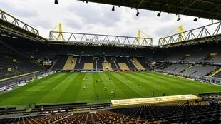 Dortmund's 80,000-capacity Signal Iduna Park echoed to the shouts of players as the Bundesliga resumed without spectators