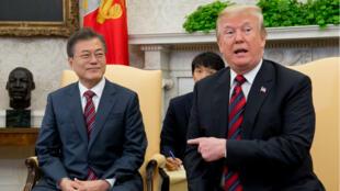 Donald Trump dans le Bureau ovale aux côtés de son homologue sud-coréen Moon Jae-in.