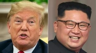 Montage of US President Donald Trump and North Korea's leader Kim Jong Un