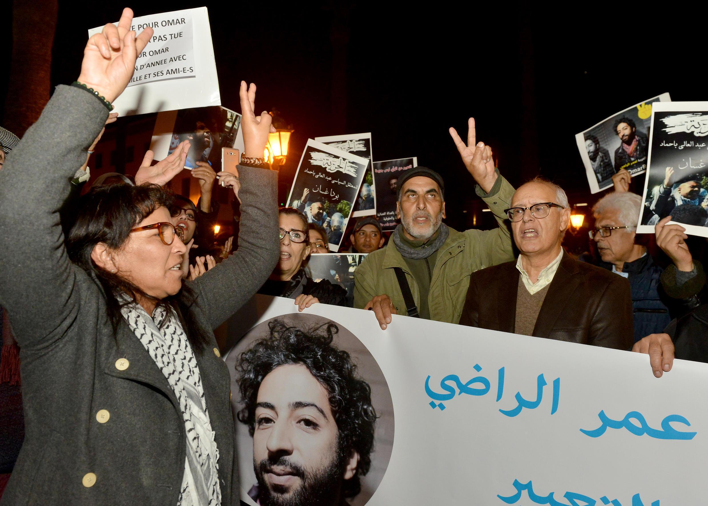 Manifestation de soutien au journaliste marocain Omar Radi, alors détenu pour avoir critiqué un juge sur Twitter, en décembre 2019 à Rabat