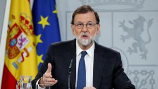 El presidente de España, Mariano Rajoy, habla en rueda de prensa en el Palacio de la Moncloa en Madrid, España, el 25 de mayo de 2018.